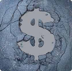 Strata pieniędzy przez dziury w jezdni